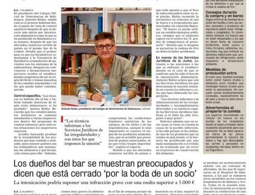 Nota de prensa del Presidente sobre la alerta alimentaria de Salmonelosis en Salamanca